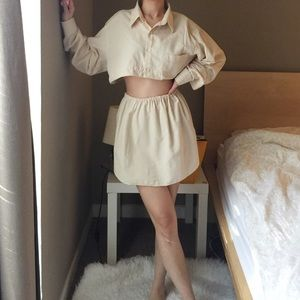 Vintage Reworked Cropped Top And Matching Skirt